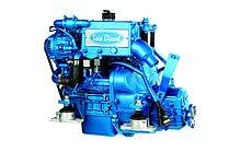 Дизельный двигатель Sole Mini 17 с редуктором с Technodrive Sea Prop R=2,15:1 и основанием