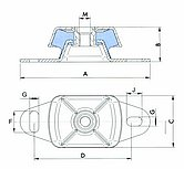 Анти-вибрационные крепления allpa®,макс.нагрузка 120 кг, штифт М16