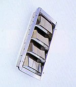 Вентиляционная решетка из нержавеющей стали, внешние размеры: 265 x 112 мм