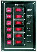 Панель выключателей 12В, 165 x 115 мм, 6 позиции