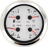 """Мульти-указатель Argent-Pro (топливо / вольтметр / температура / давл. масла), Ø 5"""" (127 мм), белый"""