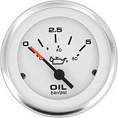 """Указатель давления в трансмиссии Lido-Pro (0-350 PSI / 25 бар) 10-180 Ом, Ø 2"""" (51 мм), белый"""