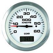 GPS-спидометр Lido-Pro с LCD дисплеем и рамкой из нержавеющей стали, 60 узлов, белый