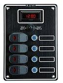 Панель выключателей 12 В с вольтметром, 4 позиции