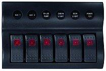 Панель выключателей 12 В с клавишными переключателями IP66, 6 позиций