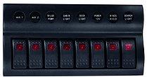 Панель выключателей 12 В с клавишными переключателями IP66, 8 позиций