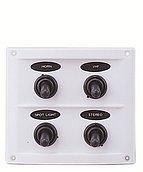 Панель выключателей 12 В, 110 х 95 мм, 4 позиции, белая