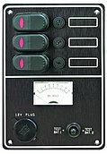 Панель выключателей 12 В с вольтметром и гнездом 12 В, 3 позиции