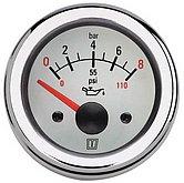 Индикатор давления масла белый, 12 В (0-8кг/см2), монт. отв. Ø 52 мм (без датчика)