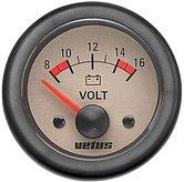 Вольтметр кремовый, 12 В (10-16В), монтажное отверстие Ø 52 мм